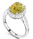 Image for Fancy Yellow Cushion Diamond Halo Shoulder Set Ring