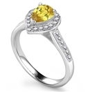 Image for Fancy Yellow Pear Diamond Halo Shoulder Set Ring