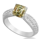 Image for Fancy Yellow Asscher Cut Diamond Vinatge Shoulder Set Ring