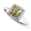 Image for Fancy Yellow Asscher Cut Diamond Cluster Ring