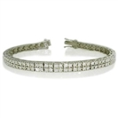 Double Row Round Diamond Tennis Bracelet
