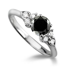 Round Black Diamond Designer Ring