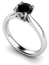 Round Diamond Black Ring