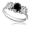 Round Black And White Diamond Trilogy Ring
