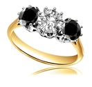 Image for Round Black And White Diamond Trilogy Ring