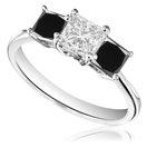 Princess Black And White Diamond Trilogy Ring