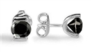 Round Black Diamond Earrings