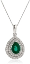 Image for Emerald & Diamond Halo Pendant