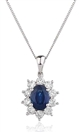 Image for Blue Sapphire & Diamond Cluster Pendant