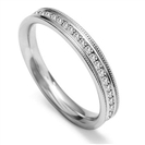 Image for Full Set 3mm Round Diamond Vintage Wedding Ring
