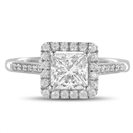 Princess Diamond Single Halo Shoulder Set Ring