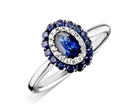 Image for Blue Sapphire & Diamond Halo Engagement Ring