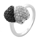 Image for Two Heart Black Diamond Designer Ring