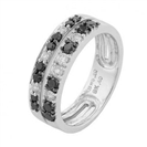 Image for Double Row Black & White Diamond Ring