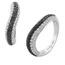 Wavy Black & White Diamond Designer Ring