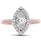 Image for Marquise Diamond Single Halo Shoulder Set Ring