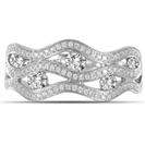 Multi Row Wave Round Diamond Dress Ring