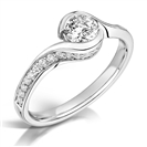 Curved Round Diamond Shoulder Set Ring
