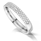 Triple Row 3.5mm Round Diamond Wedding Ring