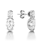 Oval & Round Diamond Drop Earrings