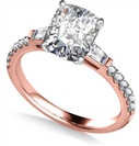 Image for Tapered Baguette Cushion Diamond Ring With Shoulder Diamonds
