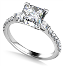 Tapered Baguette Princess Diamond Ring With Shoulder Diamonds