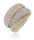 2.80CT Tri Tone Round Diamond Pave Dress Ring