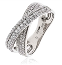 Image for 0.70CT Modern Round Diamond Cross Over Dress Ring