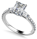 Image for Tapered Baguette Radiant Diamond Ring With Shoulder Diamonds