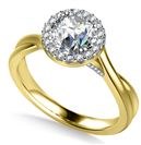 Image for Twist Round Diamond Single Halo Ring