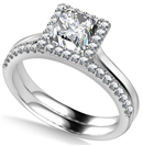 Image for Princess Diamond Halo Ring With Matching Band