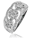 Image for 1.30CT Modern Illusion Set Round Diamond Trilogy Ring