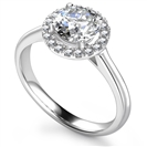 Elegant Round Diamond Single Halo Ring