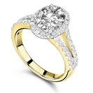 Image for Single Halo Oval Diamond Split Shoulder Set Ring