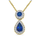 Image for Blue Sapphire and Diamond Halo Drop Pendant