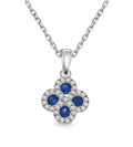 Image for Blue Sapphire & Diamond Halo Clover Necklace