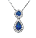 Image for Blue Sapphire and Diamond Halo Drop Necklace