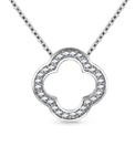 Image for Pave Set Round Diamond Clover Pendant