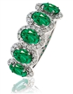 Image for Modern Emerald & Diamond Halo Dress Ring