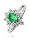 Pear Shaped Emerald & Diamond Ring