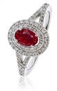 Oval Shaped Ruby & Diamond Halo Ring