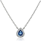 Image for Pear Shaped Blue Sapphire & Diamond Pendant
