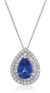 Image for Pear Shaped Blue Tanzanite & Diamond Pendant