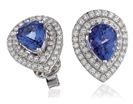 Image for Pear Shaped Tanzanite & Diamond Earrings