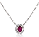 Image for Oval Shaped Ruby & Diamond Pendant