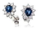 Blue Sapphire & Diamond Cluster Earrings