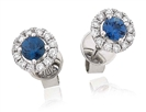 Round Blue Sapphire & Diamond Cluster Earrings