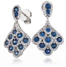 Image for Round Blue Sapphire & Diamond Drop Earrings