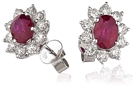 Image for Oval Ruby & Diamond Cluster Earrings