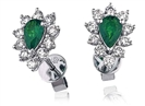 Image for Emerald & Diamond Cluster Earrings